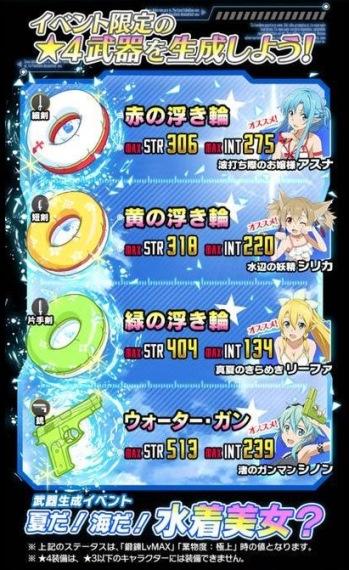 水着美女イベ☆4武器で厳選しといた方が良い武器とかある??全部STR低いし微妙だけど…