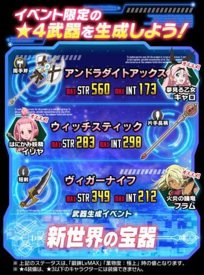 ★4両手剣★4片手長柄★4短剣が登場!武器イベント「新世界の宝器」復刻開催!
