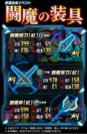 ☆4短剣・二刀流・片手斧が生成できる!復刻武器イベント「闘魔の装具」開催!