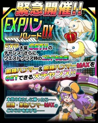 EXPハンパレードDX緊急開催!鍛錬ハンマーや鍛錬ハンマーMAXを高確率ゲットのチャンス!